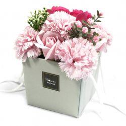 Bouquet 10 Fleurs de savon : Roses et œillets Rose