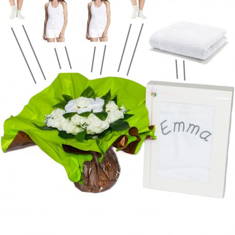 Bouquet originale habits personnalisé blanc