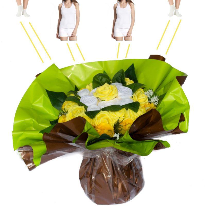 Bouquet à offrir original de 6 vêtements : Jaune
