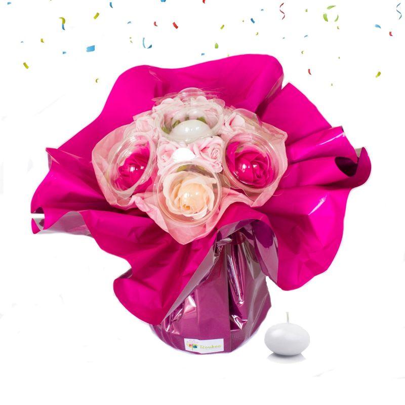 Bouquet anniversaire : fleurs de savon Rose