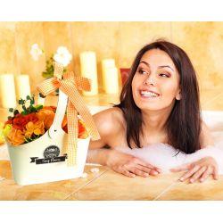 Panier original savons et serviette personnalisée : Orange