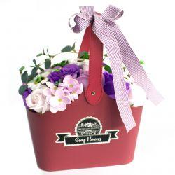 Panier cadeau : fleurs de savon Lilas