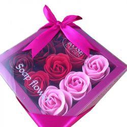 Boîte cadeau de 9 fleurs de savon : Rose