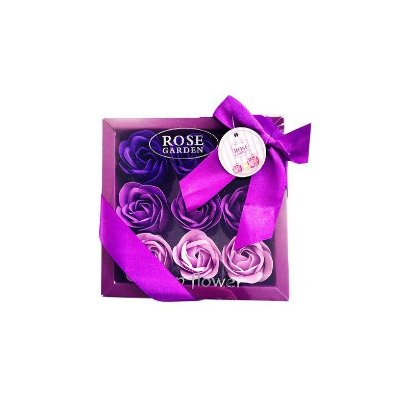 Boîte cadeau de 9 fleurs de savon : Violet