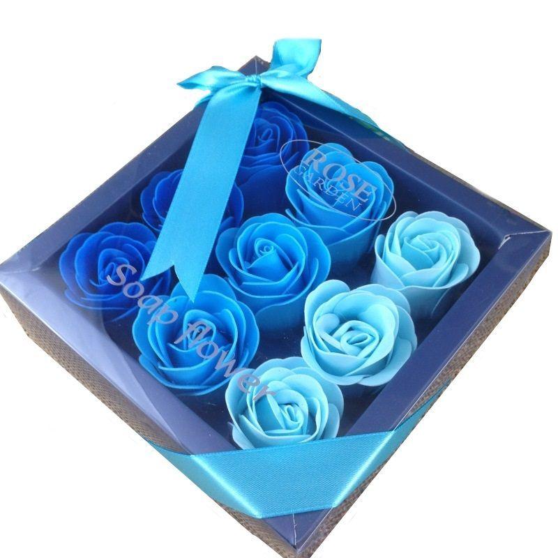 Boîte cadeau de 9 fleurs de savon : Bleu