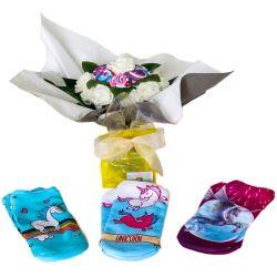 Bouquet cadeau : chaussettes licorne