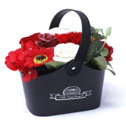 Bouquet petit panier : Fleurs de savon rouge