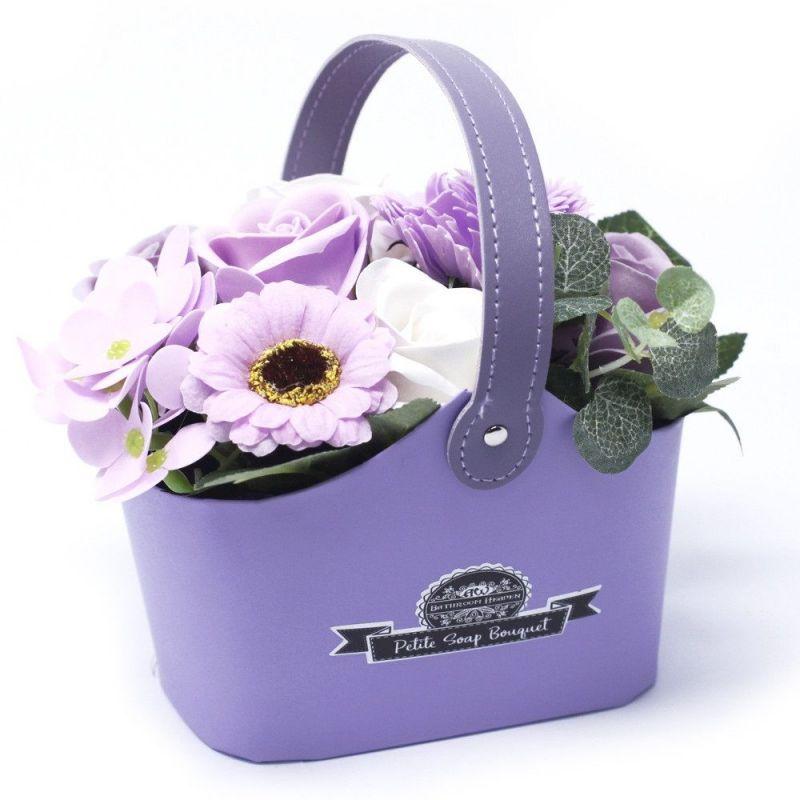 Bouquet petit panier : Fleurs de savon lavande