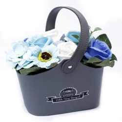 Bouquet petit panier : Fleurs de savon bleu