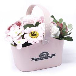 Bouquet petit panier : Fleurs de savon vert
