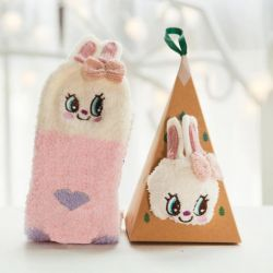 Boite chaussettes Femme : Lapin Rose
