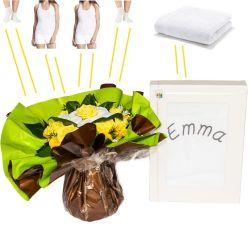 Bouquet habits personnalisé jaune