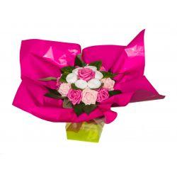 Bouquet original de chaussettes : rose