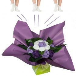 Bouquet original de chaussettes : violet