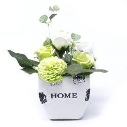 """Pot """"home"""" de fleurs de savon - Vert Pastel"""