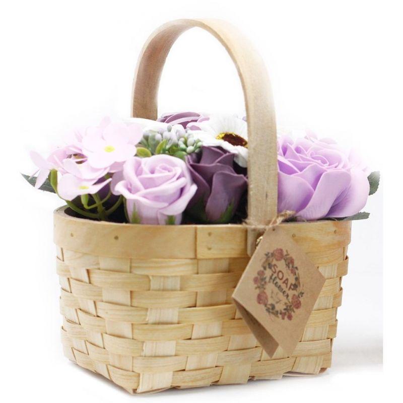 Bouquet fleurs de Savon et son panier en Osier- Lilas