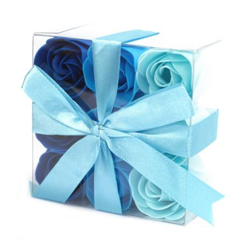 fleurs originales 9 roses de savon parfumées : Bleu