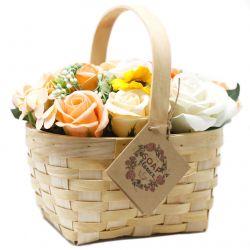 Bouquet Panier en Osier (Grand) : orange