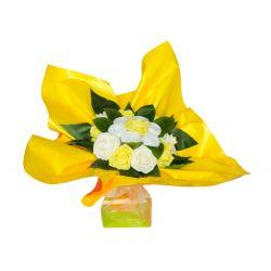 Bouquet original de chaussettes : jaune