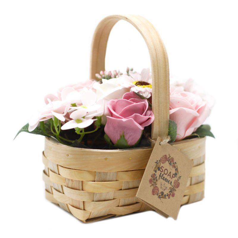 Bouquet Savon Panier en Osier- Rose