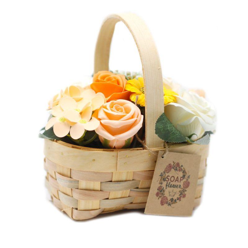 Bouquet Panier en Osier (Moyen) : orange