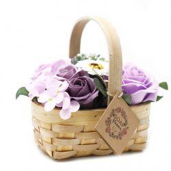 Bouquet Panier en Osier (moyen : Lilas
