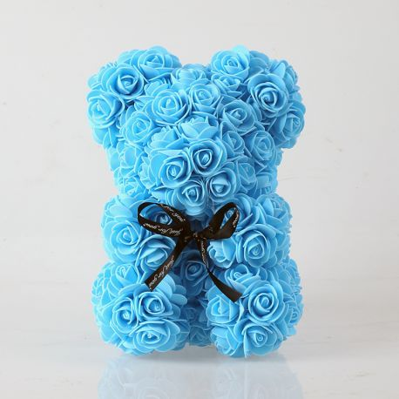 Ours en roses foam et sa boite : bleu (23cm)