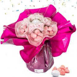 Bouquet anniversaire bonbons : rose