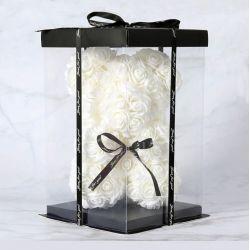 Ours en roses de mousse et sa boite : Blanc (23cm)