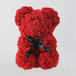 Ours en roses foam et sa boite : Blanc (23cm)