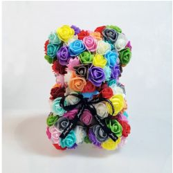 Ours en roses foam et sa boite : Gris (23cm)