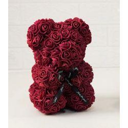 Ours en roses foam et sa boite : Bordeau (23cm)