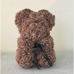 Ours en roses foam et sa boite : Marron (23cm)