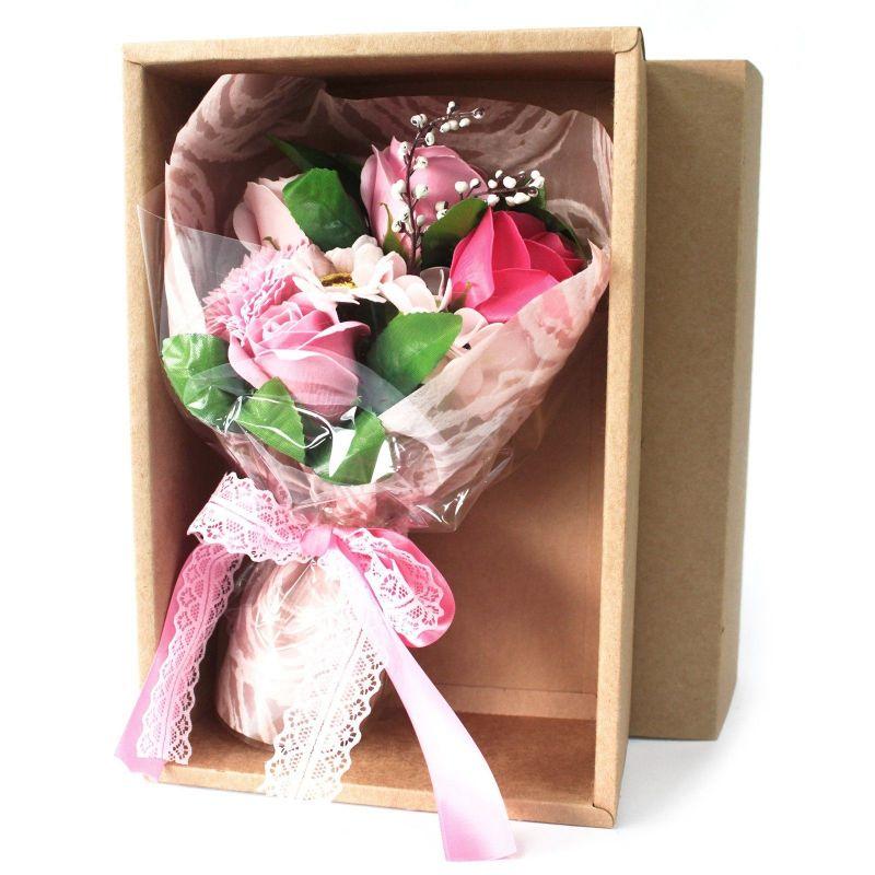Bouquet original de 7 fleurs de bain : rose