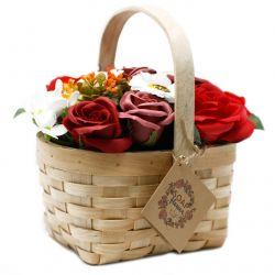 Cadeau Bouquet Savon et son panier en Osier grand - Orange