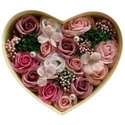 Cœur de roses de savon bouquet anniversaire